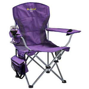 OZTRAIL-MODENA-PURPLE-CHAIR-Folding-Camping-Picnic-Arm-Chair