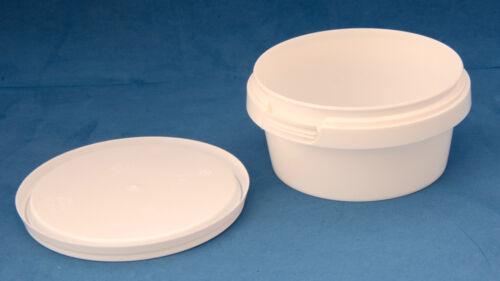 10 x 180ml blanc plastique inviolable tubs//conteneurs avec couvercles