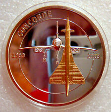 2010 GOLD PLATED + SILVER PLATED  CONCORDE  MEDAL with CONCORDSKI ERROR