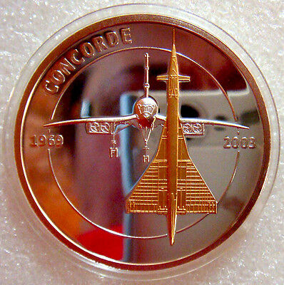 2010 SPOT GOLD + SILVER PLATED  CONCORDE  MEDAL with CONCORDSKI ERROR 186/9999