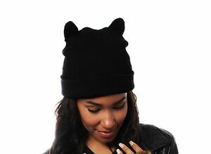 Image is loading Ladies-Black-Beanie-Hat-with-Cool-Cat-Ears- c1903845906
