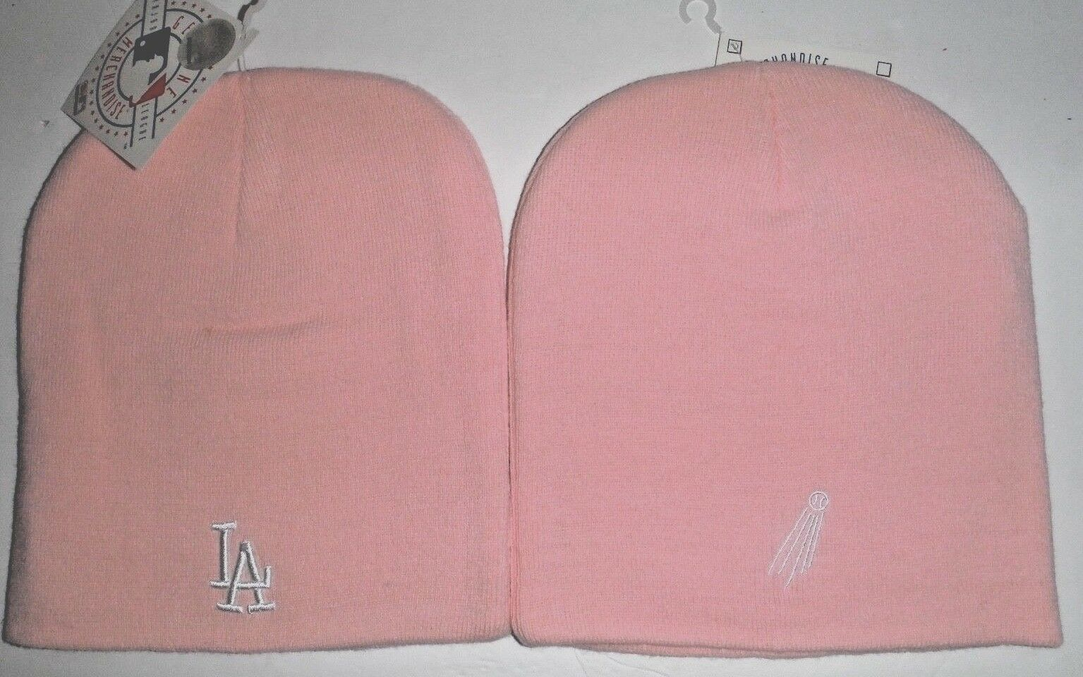 Pink Dodgers beanie for women