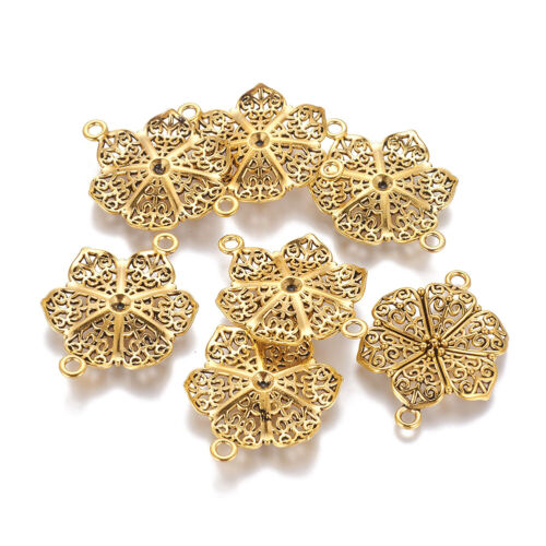 10pc Tibetan Alloy Filigree Flower Charm Connectors 1//1 Loop Gold Big Links 41mm