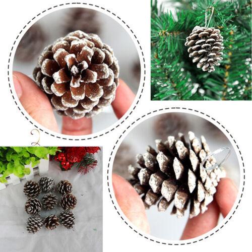 6Pcs Christmas Pine Cones Baubles Santa Claus Xmas Tree Party Decor Ornaments
