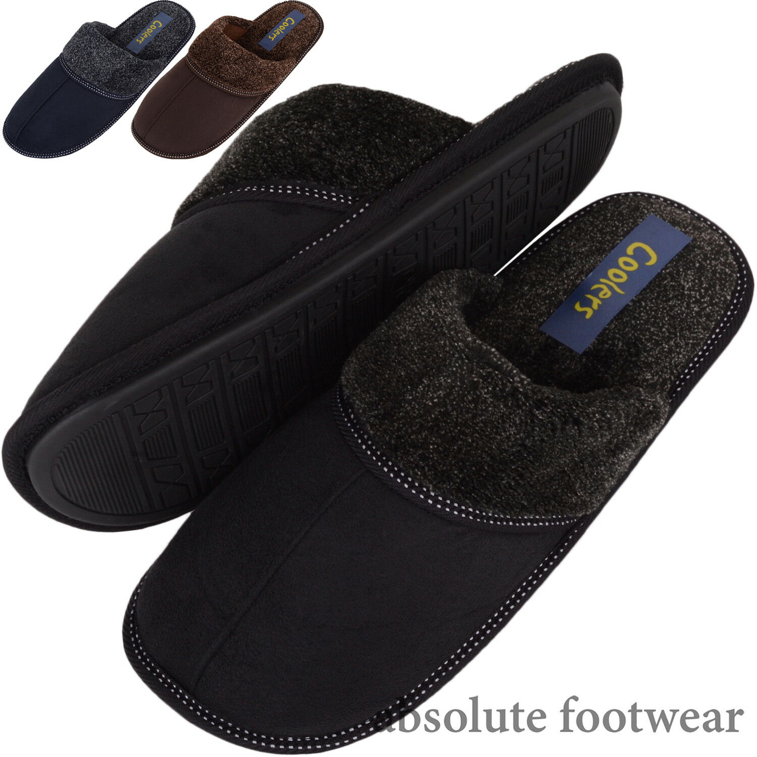 Hombre / Gents Slip / On Slippers / Mules / Slip Indoor Zapatos with Stitch Detail 9384c3