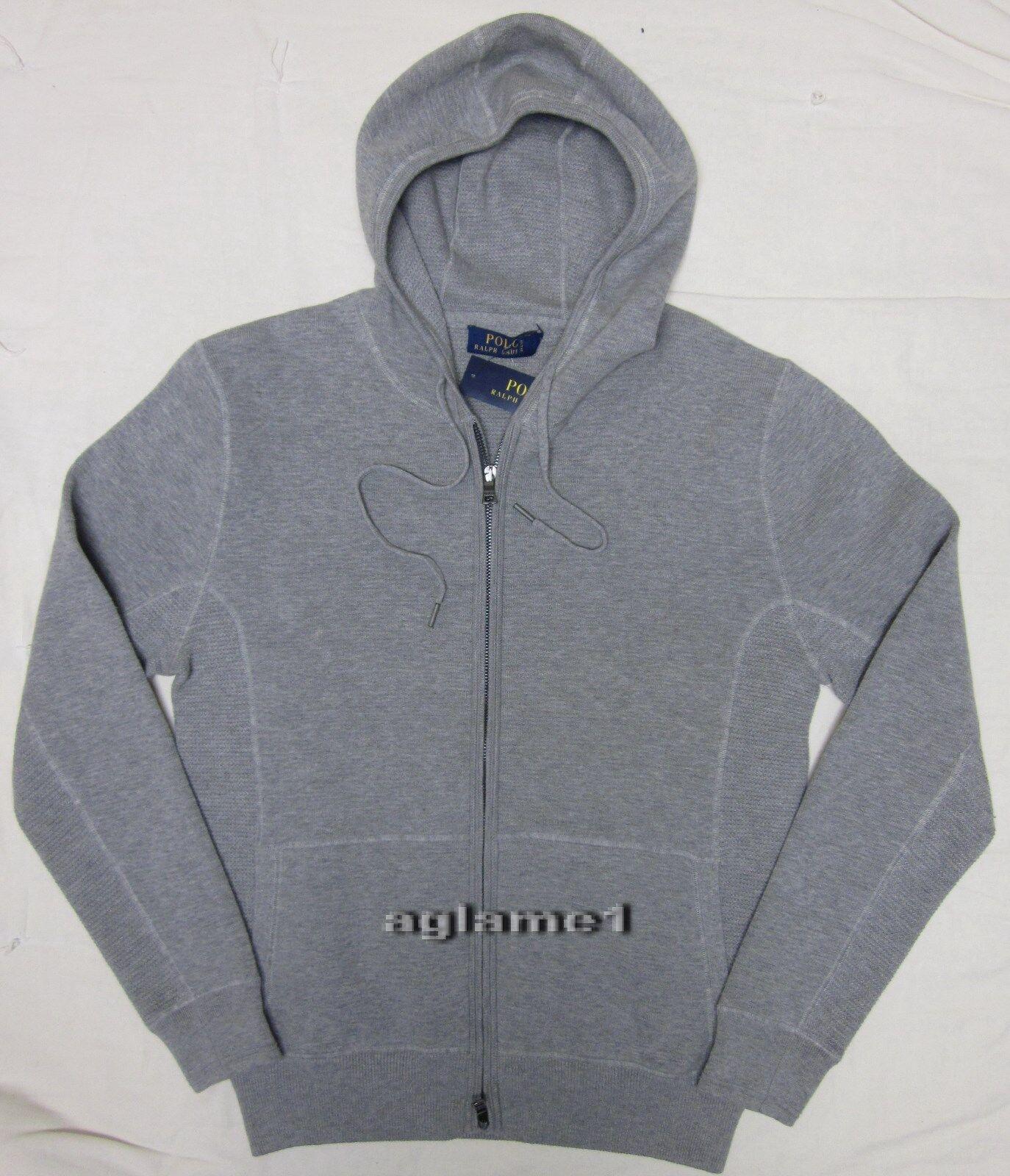 Polo Ralph Lauren cashmere cotton blend Hoodie hood Sweater cardigan L