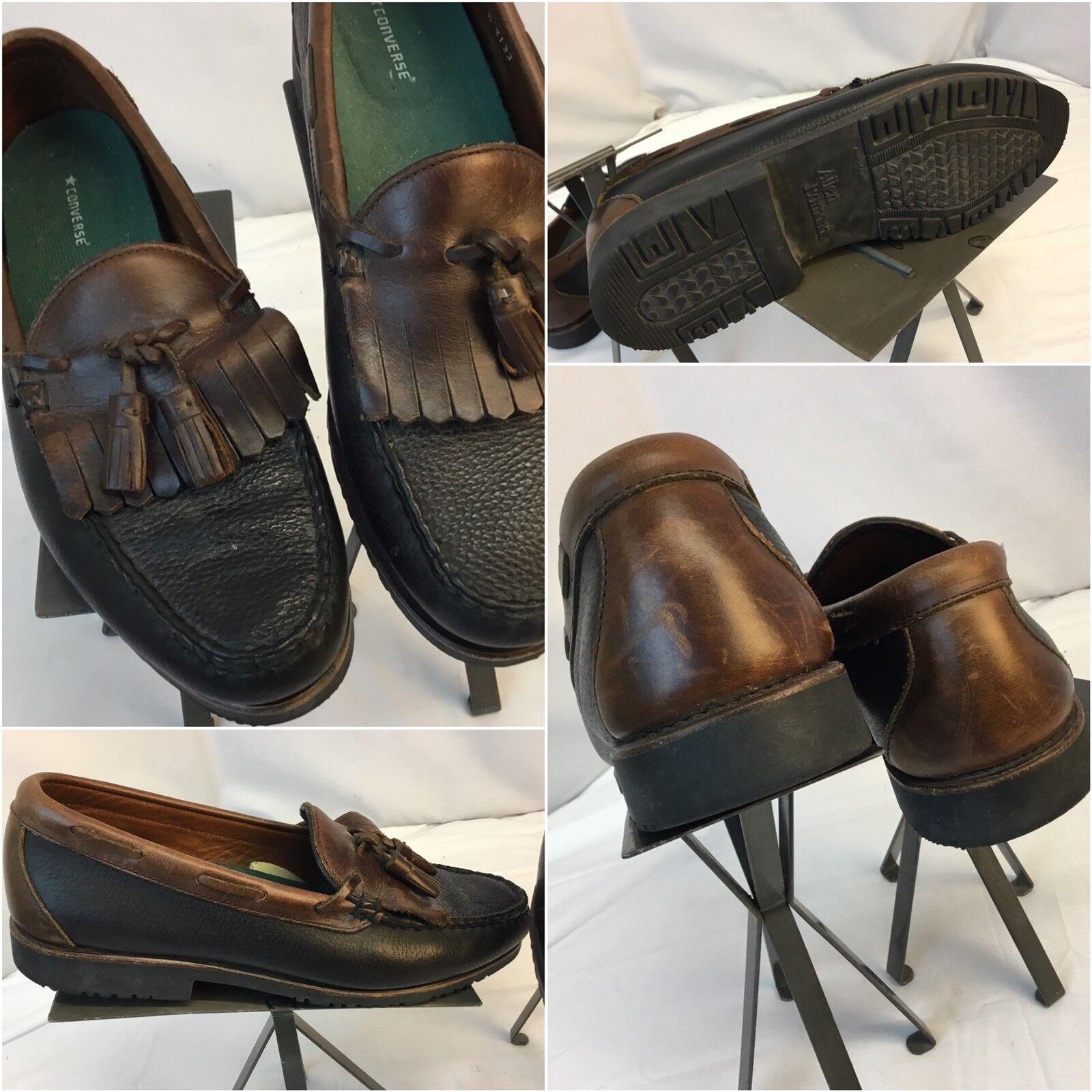 Allen Edmonds D Loafers Shoes Sz 10 D Edmonds Brown Black 2-Tone Tassels EUC YGI B8 20b034