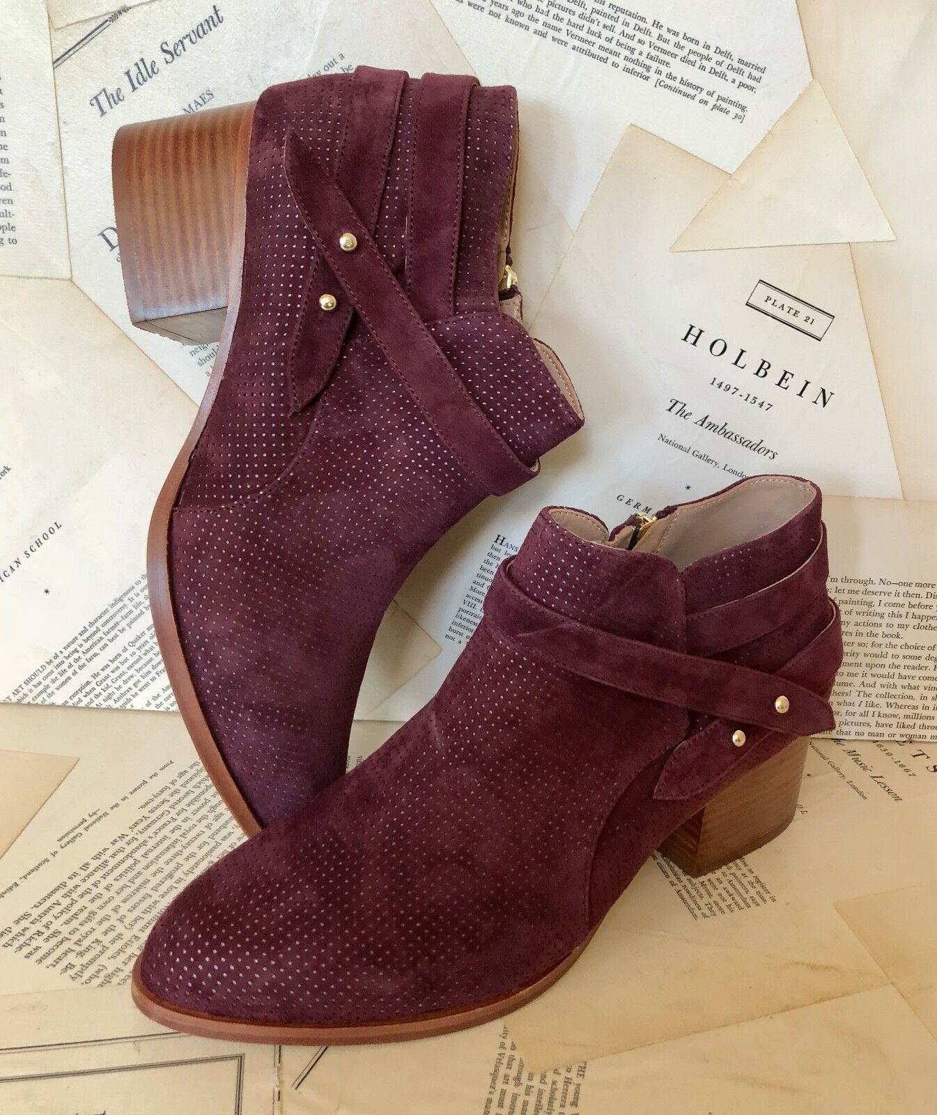 NIB Anthropologie wine Perforated Suede Wrap Strap Inside Zip Ankle Boots 9.5