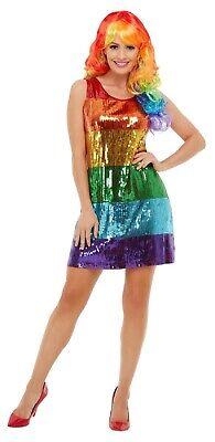 Abito Donna Paillettes Color Arcobaleno Gallina Lgbt Orgoglio Costume Outfit Uk 8-18-mostra Il Titolo Originale Forte Resistenza Al Calore E All'Usura Dura