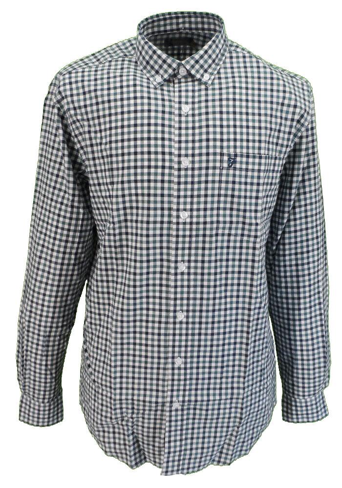 Farah Teal Gingham Long Sleeved Cotton Retro Mod Button Down Shirts  | Moderate Kosten  | Beliebte Empfehlung  | Verschiedene Stile und Stile