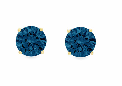Details about  /1.5ct Round Solitaire Studs London Blue Topaz 18k Yellow Gold Earrings Push Back