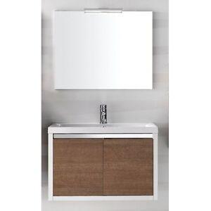 Mobile bagno moderno sospeso lavabo mineralmarmo specchio luce led inda clever ebay - Luce led specchio bagno ...