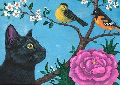 5x7 PRINT OF PAINTING RYTA CHRISTMAS BLACK CAT CARDINAL CHICKADEE NORTH BIRDS