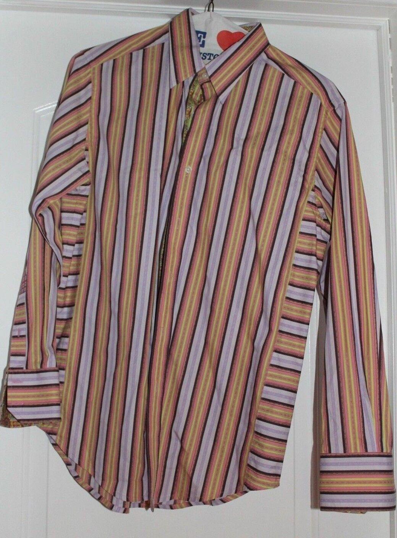 Robert Graham Striped Dress Shirt With Flip Cuffs Size Men's Medium