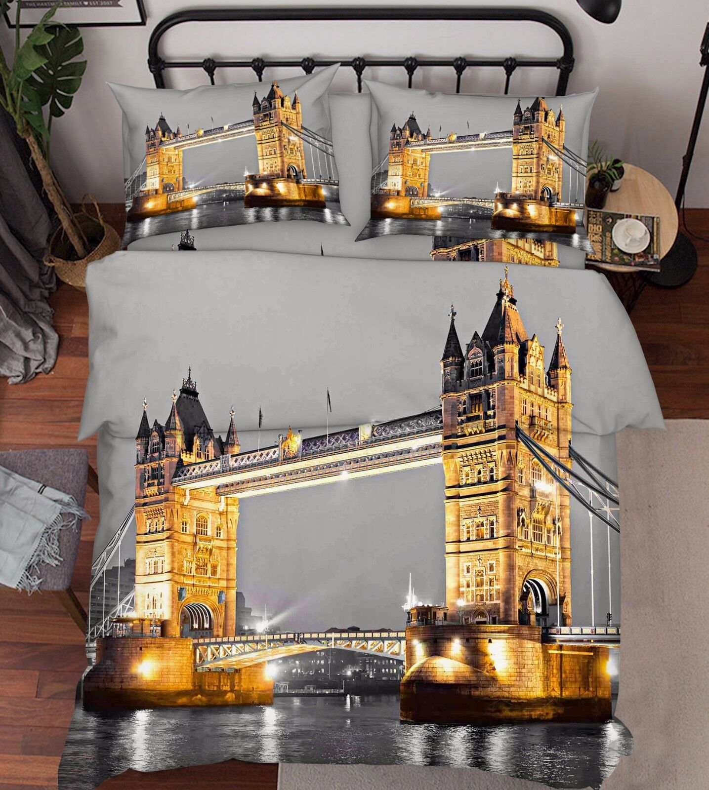 3D London Bridge 73 Bed Pillowcases Quilt Duvet Cover Set Single Queen AU Lemon