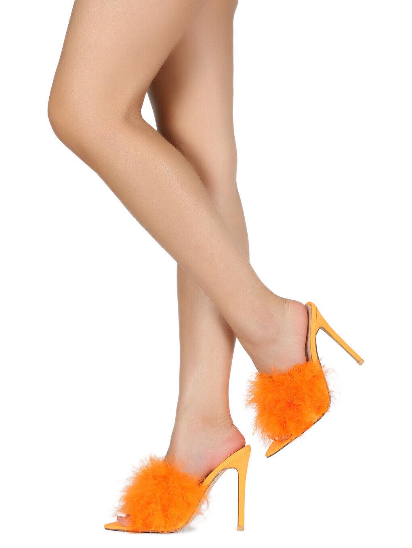 Women Faux Fur Open Pointy Toe Stiletto Mule Heel Sandal 18590