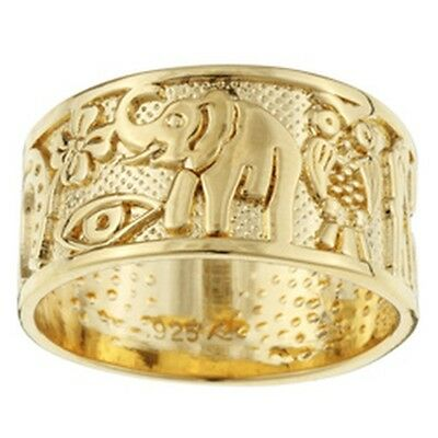Sterling Essentials 14k Gold over Silver Good Luck Ring