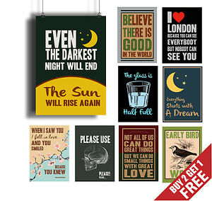 Quote Posters | Motivational Quotes Posters A3 A4 Retro Vintage Wall Art Prints