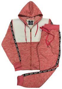 Womens Active wear LOVE Stripe Soft Fleece Jogger Sweat Jacket Sweatpants Outfit