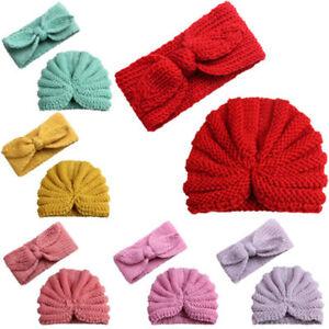 Toddler-Kids-Baby-Boy-Girl-Knitted-Turban-Hat-Hair-Band-Beanie-Headwear-Cap-Sets