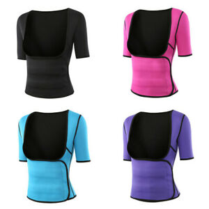 Womens-Neoprene-Sauna-Sweat-Vest-with-Sleeves-Slimming-Waist-Trimmer-Body-Shaper
