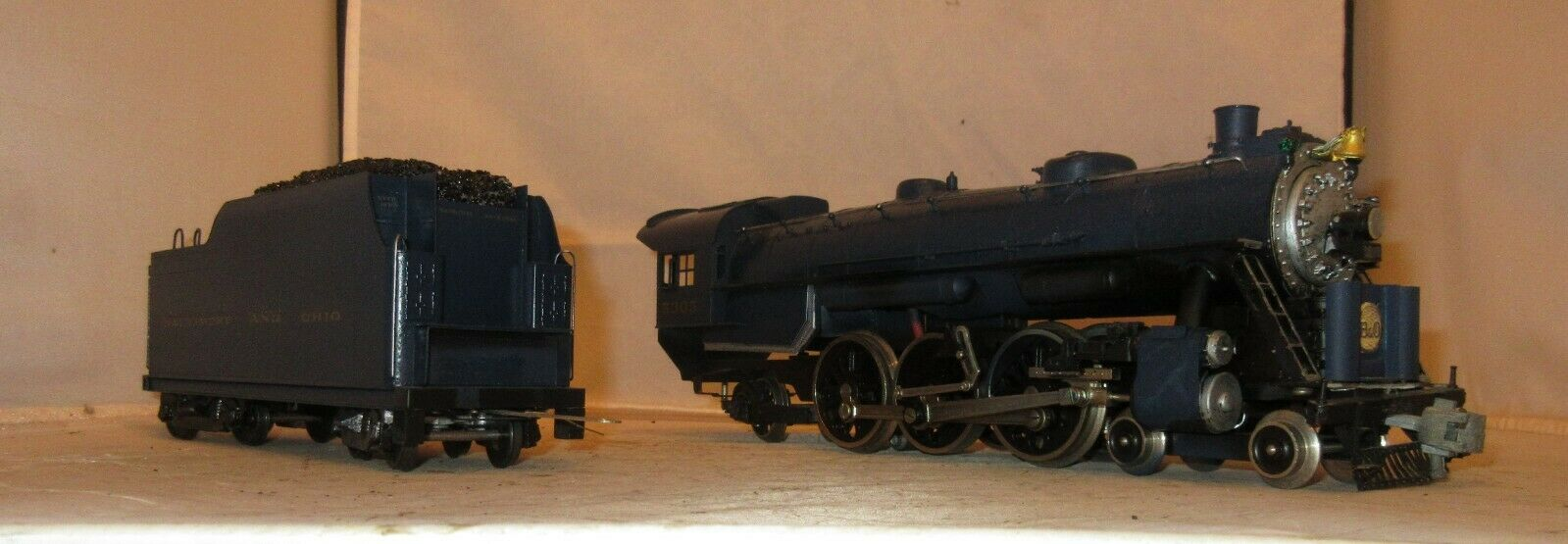 Brass Baltimore and Ohio O Gauge Steam Engine and Tender