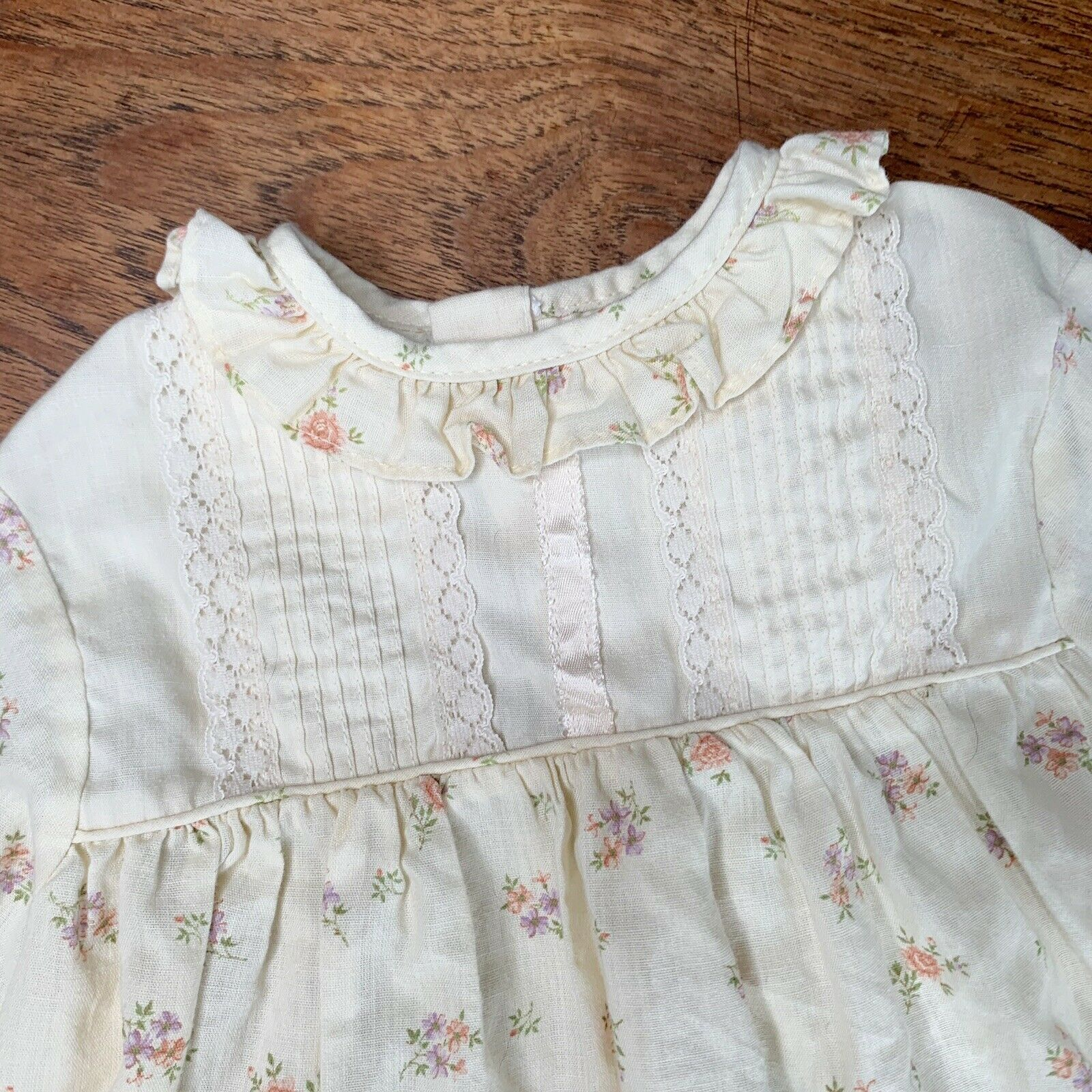 Vintage Girls 3T Tiered Prairie Dress Floral Lace… - image 2