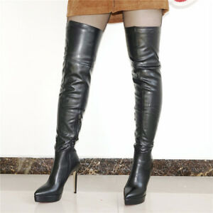 419adf1fb 2019 Womens Cow Leather Point Toe Thigh High Boots Over the Knee ...