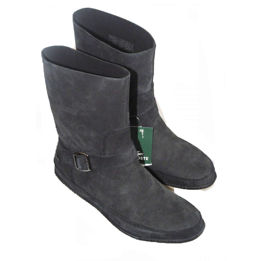 Zapatos especiales con descuento Lacoste Trudeau Womens Boots Black Mid pull on Leather mid Low Heel Calf Size 3