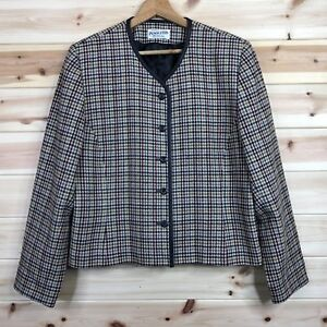 Vintage Pendleton Veste Blazer Beige Houndstooth Check Medium Uk 18-afficher Le Titre D'origine