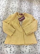 Women's NWT Max Mara Studio Yellow Textured Blazer Size Medium