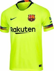 Nike Fc Barcelona Away Jersey 2018 19 Neon Yellow Ebay