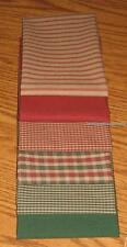 Dunroven House 6 Christmas Holiday Homespun Red & Green Fabric Fat Quarters