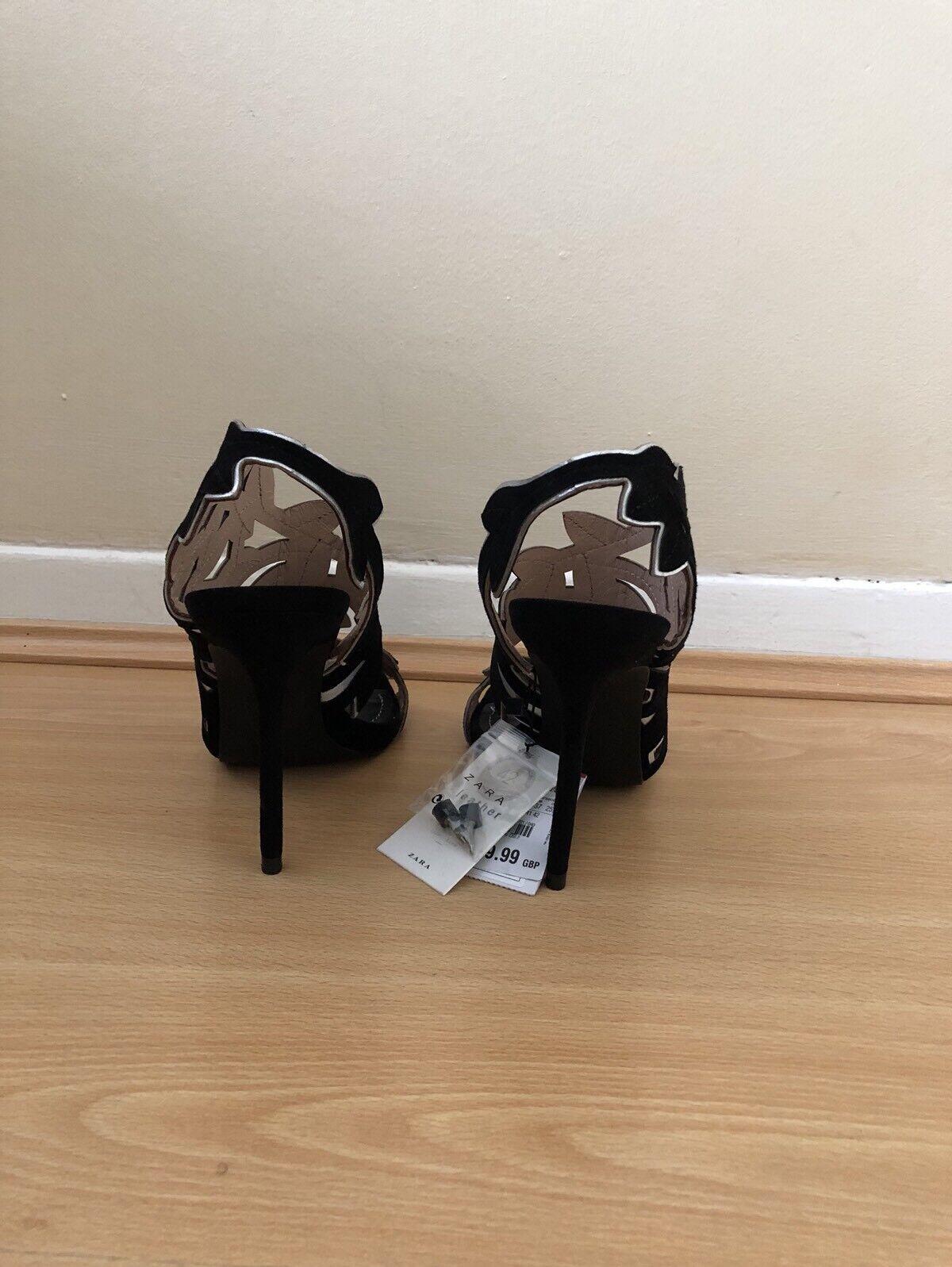 6f7c002dc69 Zara Black Leather Leaves High Heel Sandals Size UK 3 Ref 5452 201 for sale  online