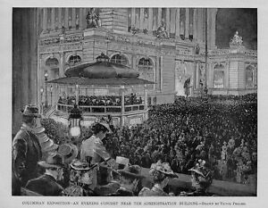 MUSIC COLUMBIAN EXPOSITION AN EVENING CONCERT NEAR THE ADMINISTRATION BUILDING