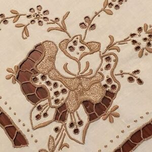 """Vintage MADEIRA~ Hand Embroidery~ CUTWORK~ Taupe 32"""""""