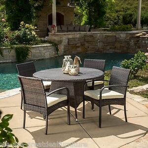 5 piece outdoor patio furniture multi brown wicker round
