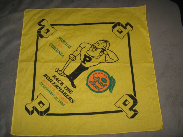 Purdue University Bandana - Boilermakers Football 1984 Peach Bowl GA Rally Rag