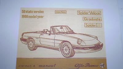 Alfa Romeo Spider Owner S Manual 1986 Pdf Version Ebay