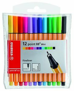 Stabilo-Point-88-Mini-Fineliner-Pigment-Liner-Assorted-Colours-Wallet-of-12