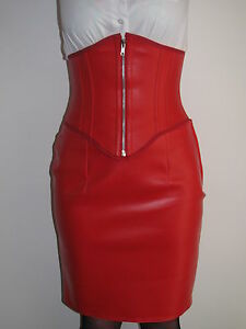 dda6b4b9c5 Image is loading Red-faux-leather-waspie-underbust-corset-belt-all-
