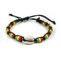 Rasta Shell Stripe Beaded Band Bracelet Wrist Bracelet Cuff Reggae Surfer Boho