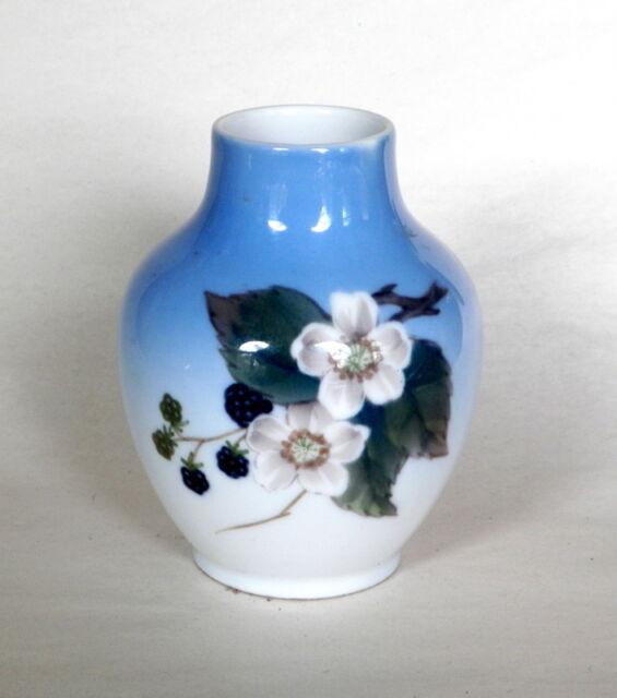 Royal Copenhagen Denmark 4 High Black Berries Blossoms Small Vase