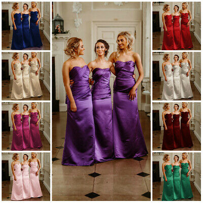 Begeistert Satin Bridesmaid Dress Wedding Ballgown Evening Prom Formal Floor Length
