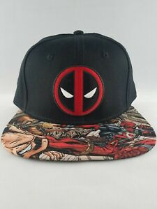 size 40 3e6e2 7ed9d Image is loading Marvel-Deadpool-One-Size-Hat-Black-Red-Printed-