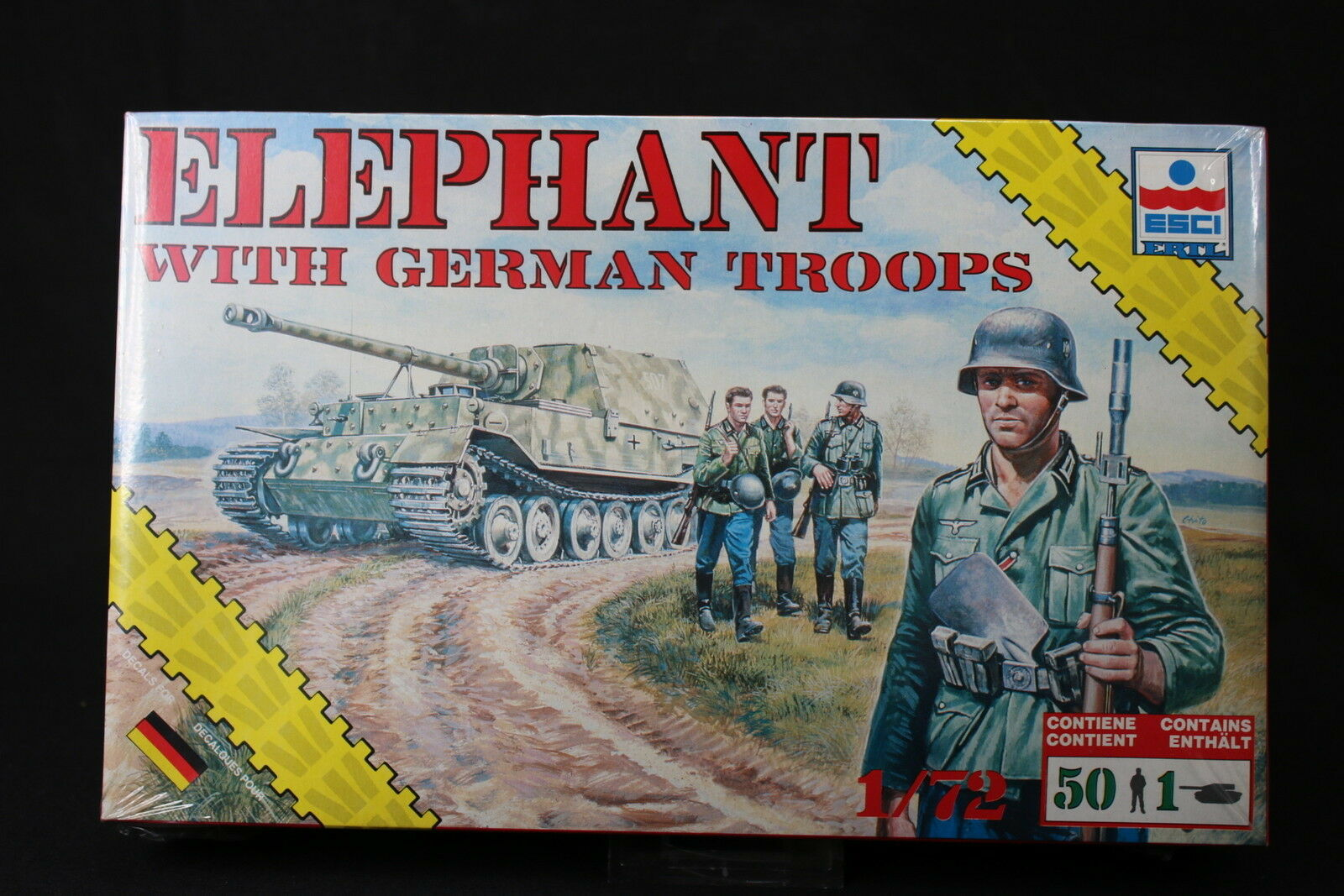 YD026 ESCI 1 72 maquette tank char 8621 Elephant with German Troops rare version