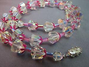 Antique-Cut-Crystal-Necklace-Unique-Tubular-Enamel-Flower-25-034-Pink-AB-Beaded