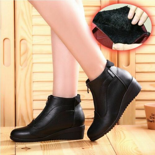 Women Winter Snow Boots Wedge Heels Zipper Shoes Leather Warm Fur Casual Shoe