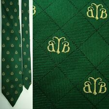 BROOKS BROTHERS COUNTRY CLUB BB LOGO FOREST GREEN GOLD ALL SILK NECKTIE NECK TIE