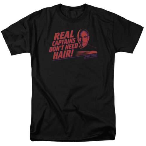 Star Trek TNG Picard REAL CAPTAINS DON/'T NEED HAIR T-Shirt All Sizes